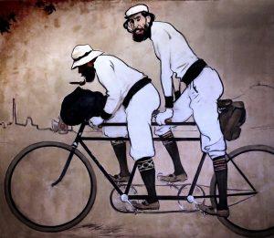 schilderij van twee mannen op fiets