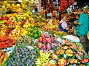 groenten en fruit bij La Boqueria