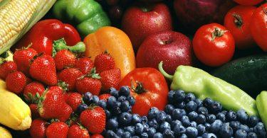 diverse groenten en fruit van dichtbij