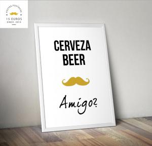 Postcard cerveza, beer and amigo