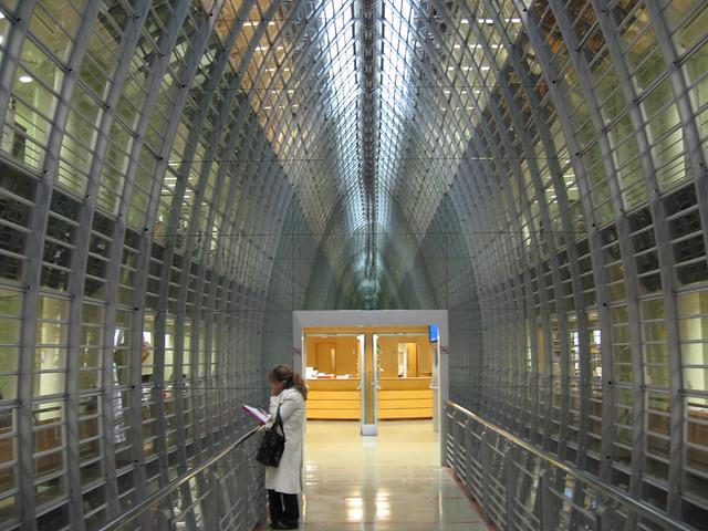 glazen brug met metalen binnenconstructie
