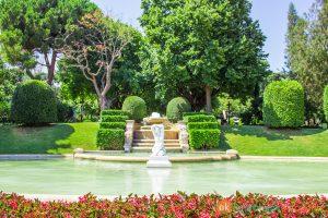 park met vijver, beeld en groene omgeving
