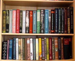 twee planken van een moet boeken gevulde boekenkast
