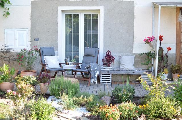 terras met planten