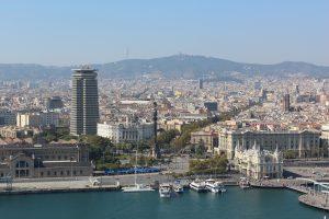 uitzicht over las ramblas barcelona vanuit de haven