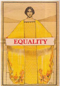 """tekening van vrouw met """"gelijkheid"""" in handen"""