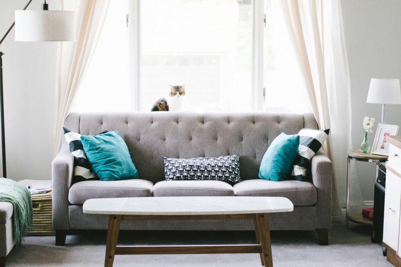 moderne zitkamer met grijze bank