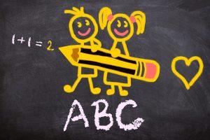 schoolbord met tekening