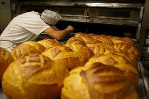 bakker kijkt in oven met broden op voorgrond