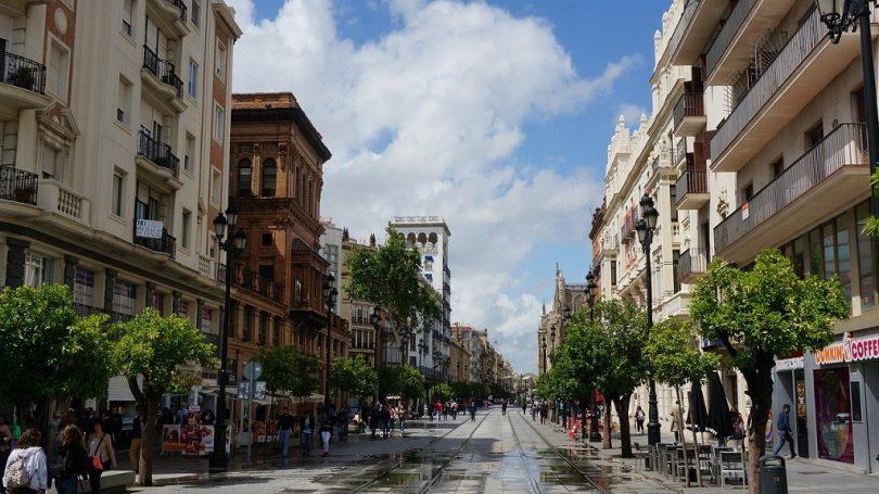 rustige straat met bomen en lage bebouwing