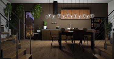 moderne keuken met twee trappen naar boven