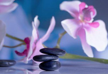 roze orchidee en drie zwarte stenen op elkaar