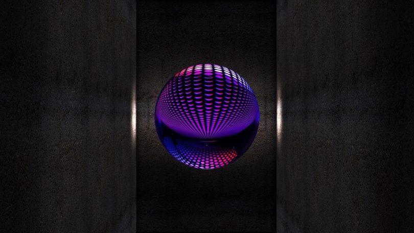 paars en blauw in sferische bol
