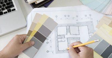 renovatietekening met verfkleuren