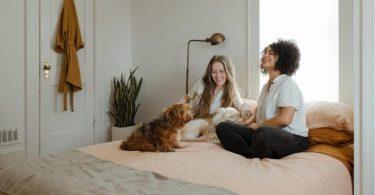 twee vrouwen met hond op bed