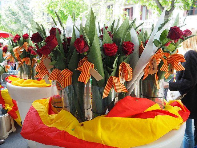 rode rozen met catalaanse vlaggetjes